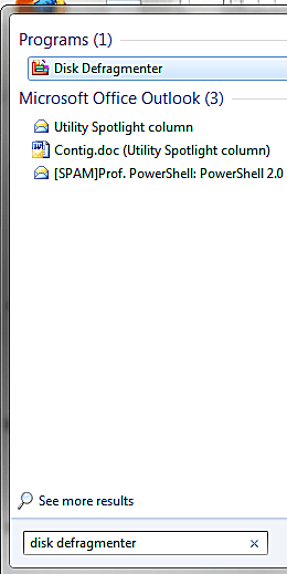 Disk defragmenter in the Windows search.