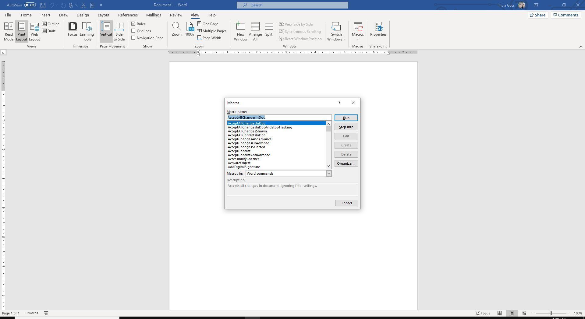 Screenshot of Macros dialog box