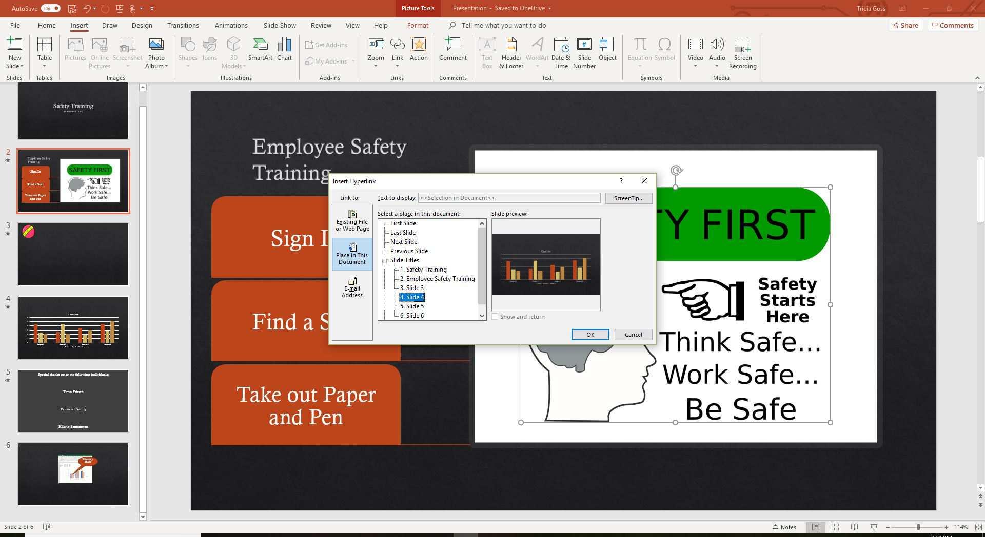 A screenshot of choosing a slide to link to.