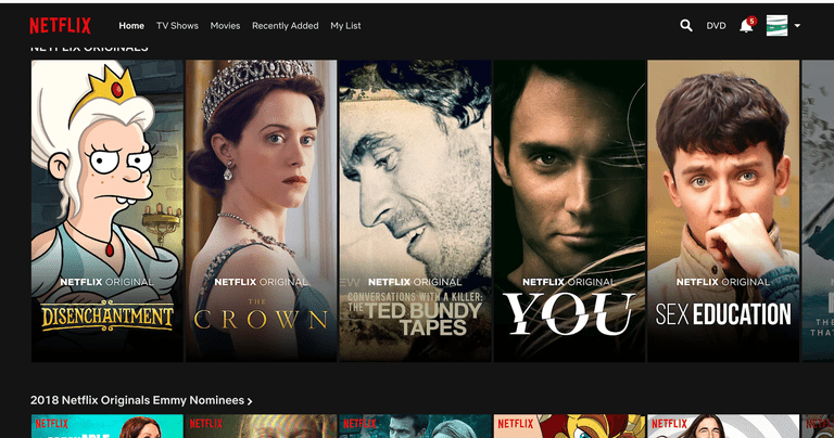 Screenshot of Netflix home page