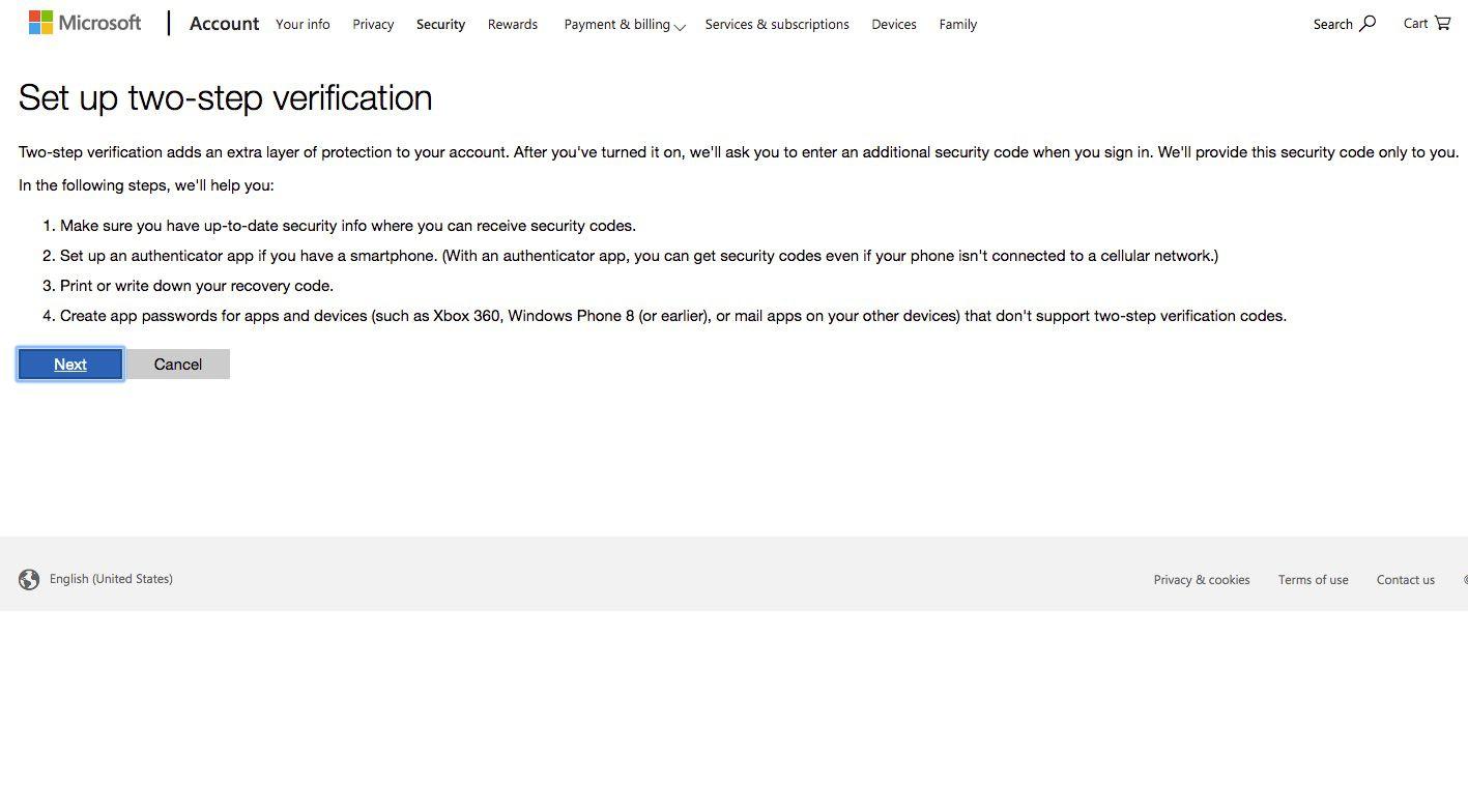 Screenshot of Outlook.com setup two-step verification