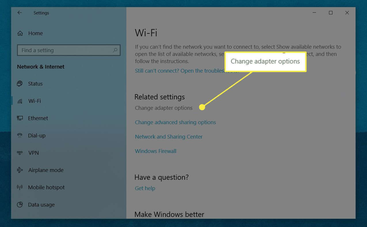 A screenshot of Windows Wi-Fi settings with the Change Adapter Options heading highlighted