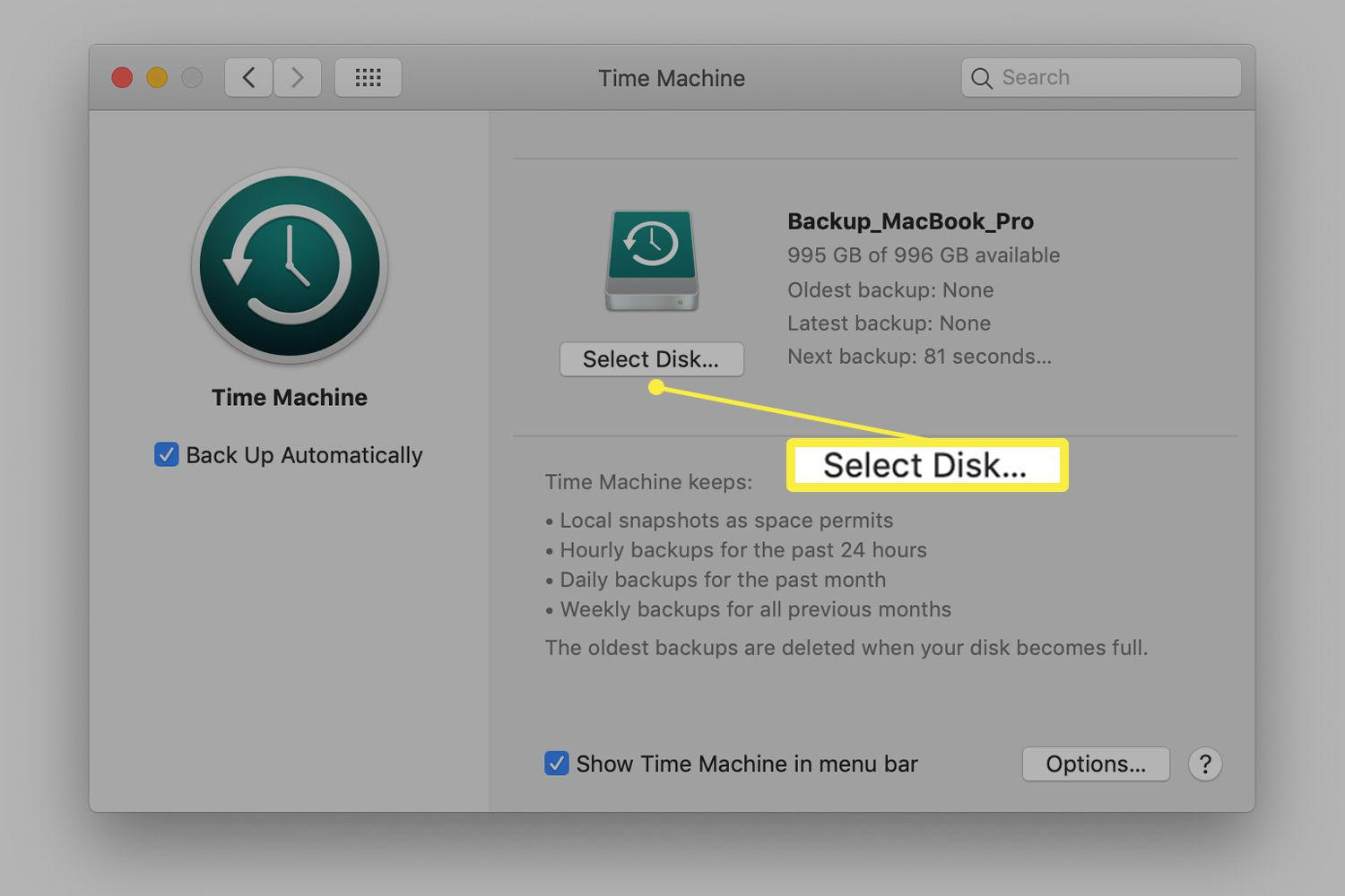 Time Machine screen for removing backup drive