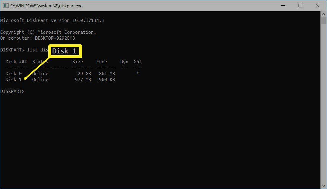 Disk number in Windows DISKPART