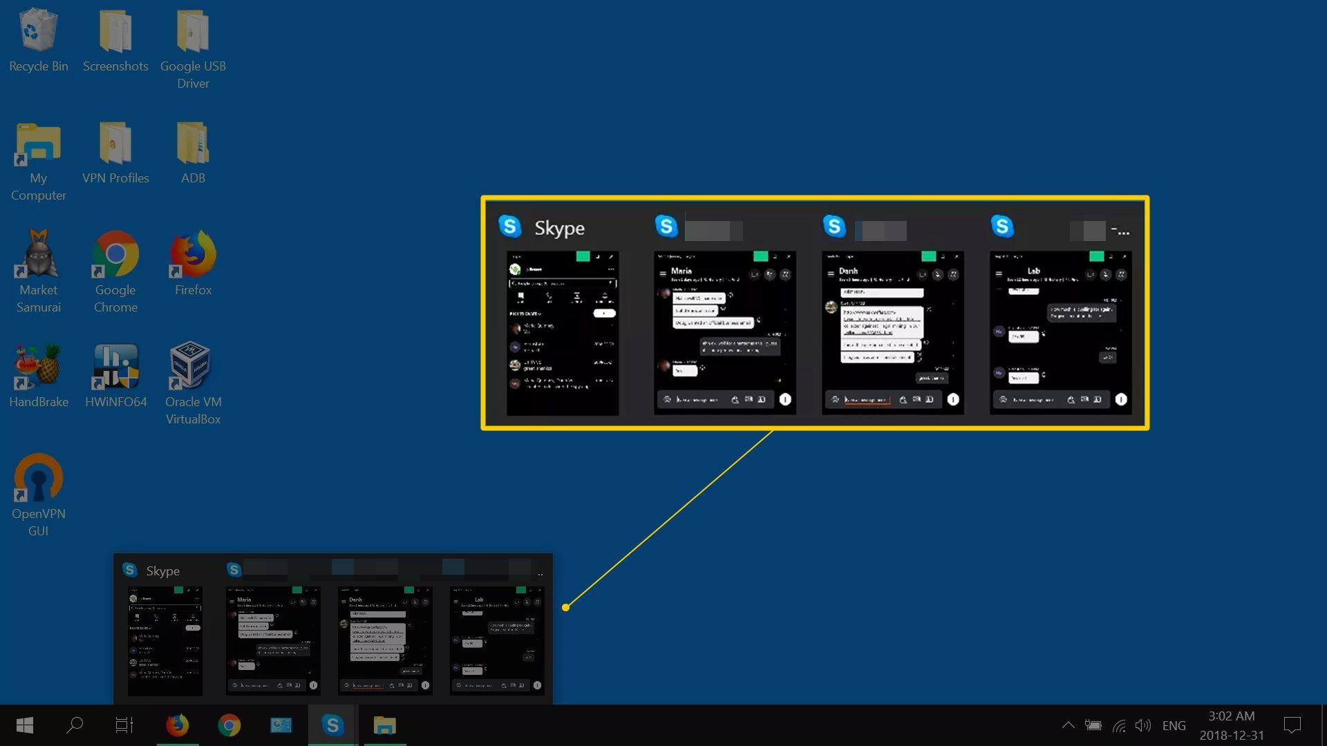 All Skype chats in the Windows taskbar