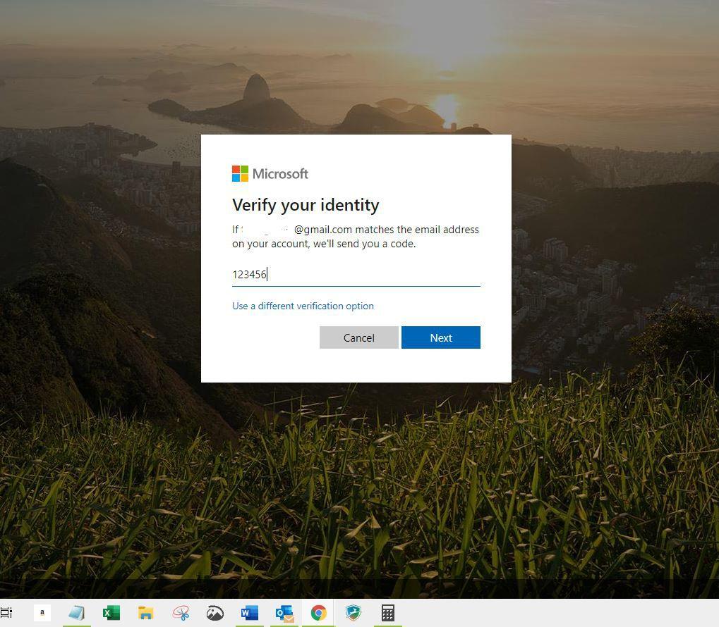 Screenshot of Verify your identity