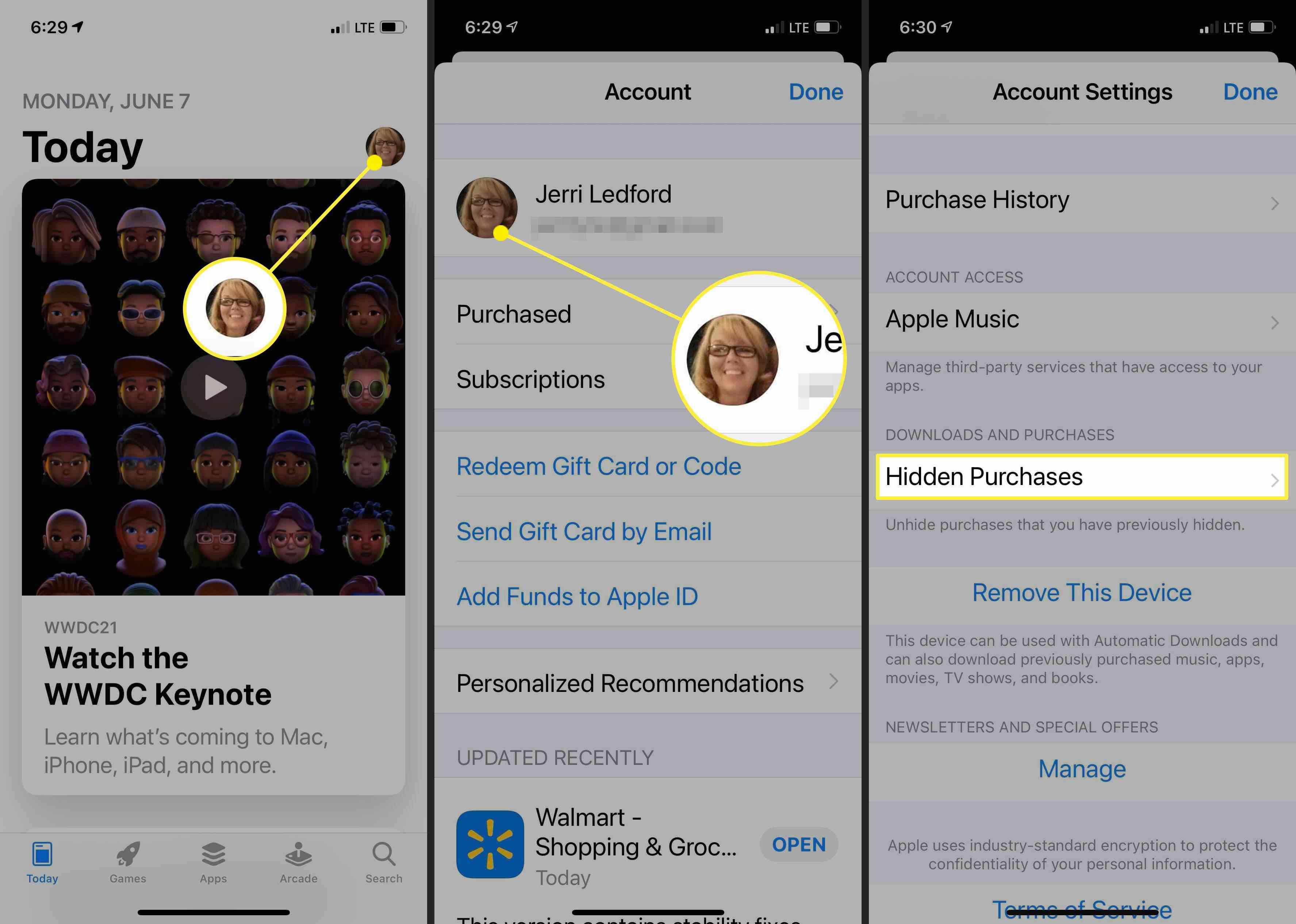Screenshots showing how to find hidden purchases on iPhone.