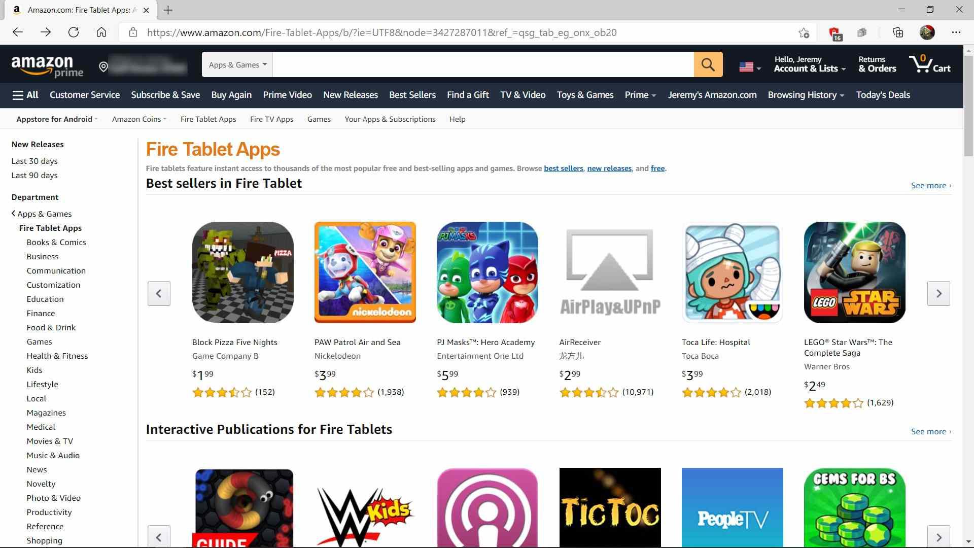 The Amazon Fire app store.