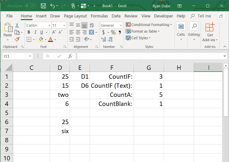 Example of adding a cell with an INDIRECT function in Excel