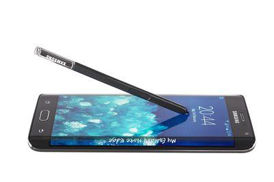 Studio shot of a black Samsung Galaxy Note Edge smartphone