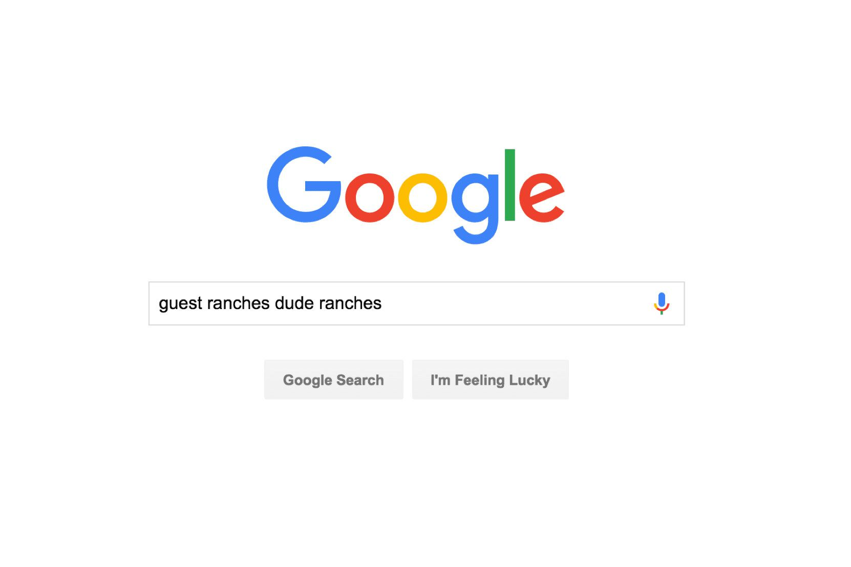 Google search for guest ranches or dude ranches