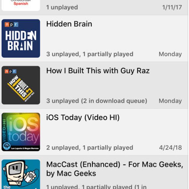 iPhone podcast player app Downcast