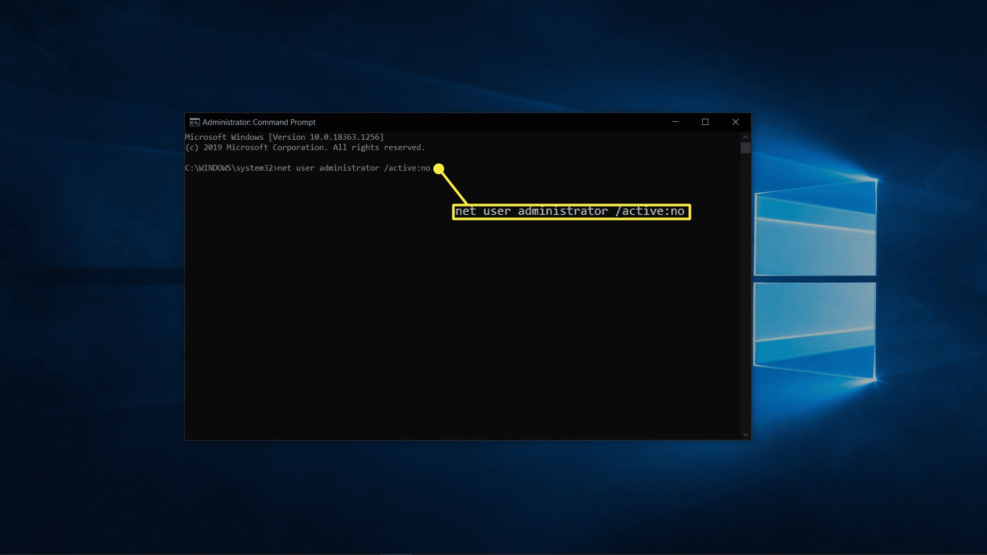 Disabling the admin account in Windows 10.