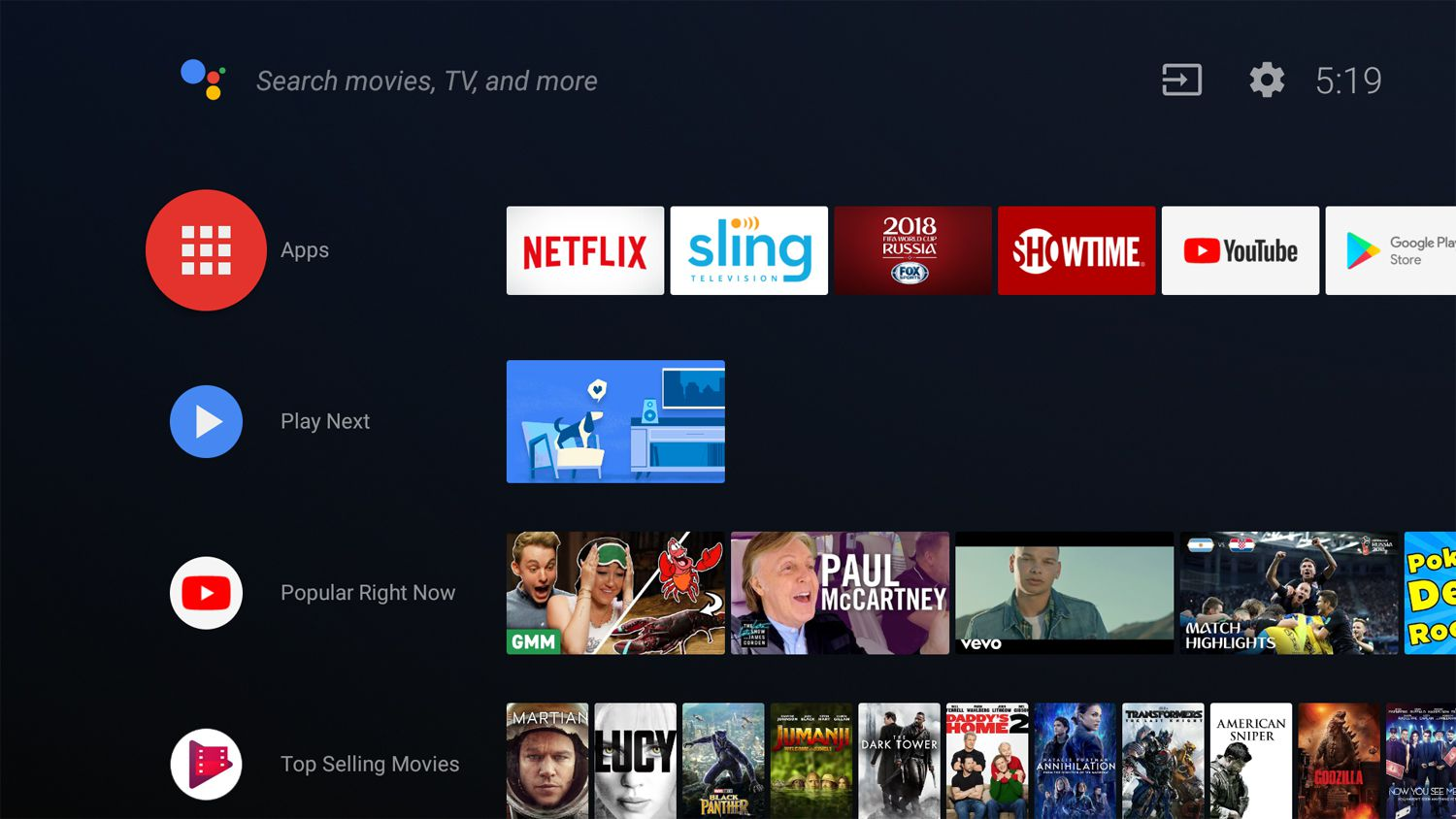 Hisense Android TV Home Page