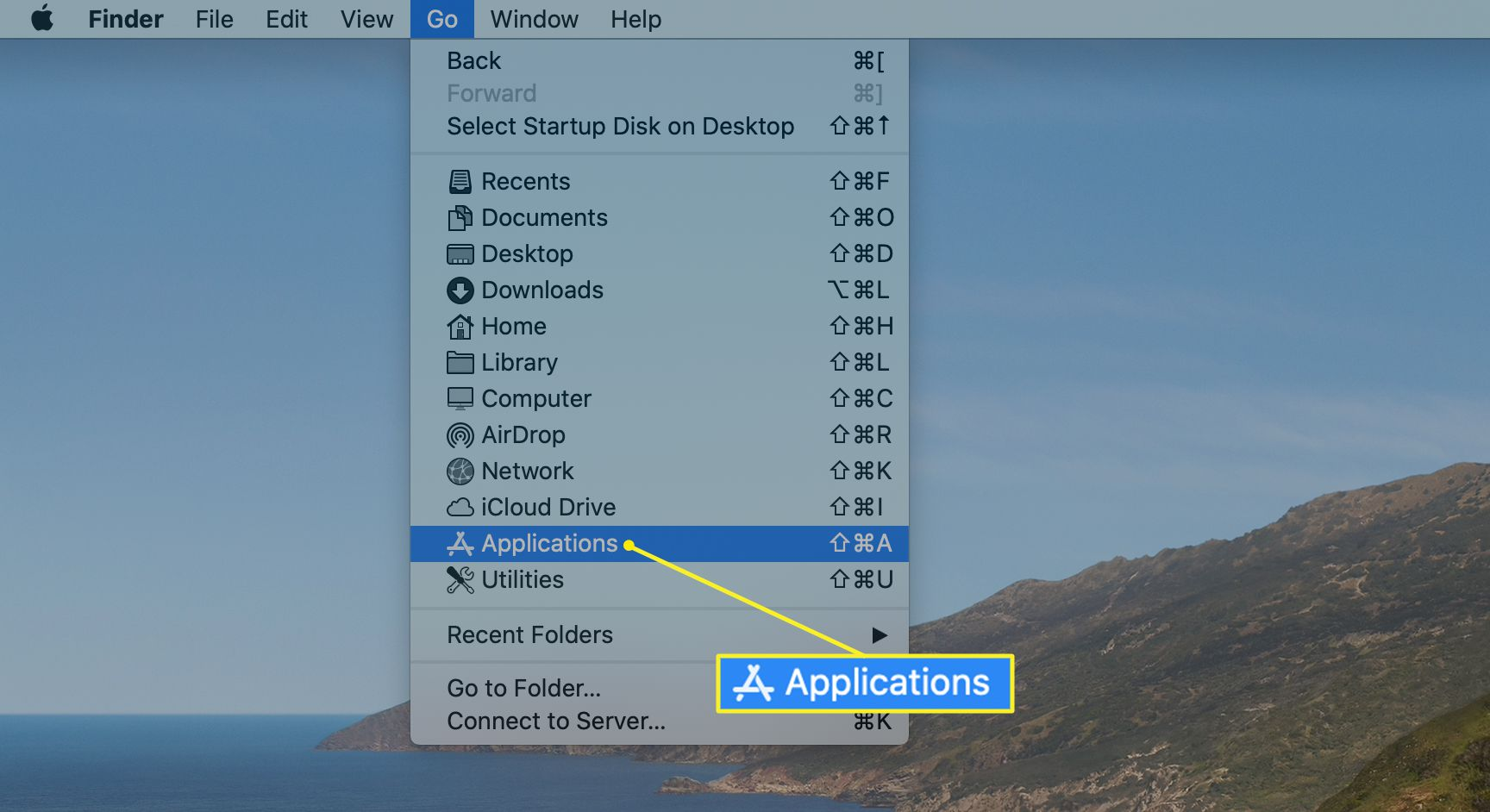 Finder Go menu with Applications highlighted