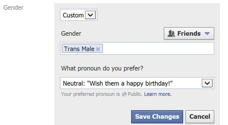Facebook gender options screen