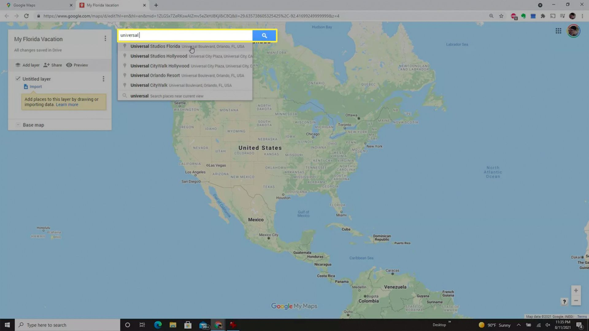 Searching for a location when creating a custom Google Maps app.