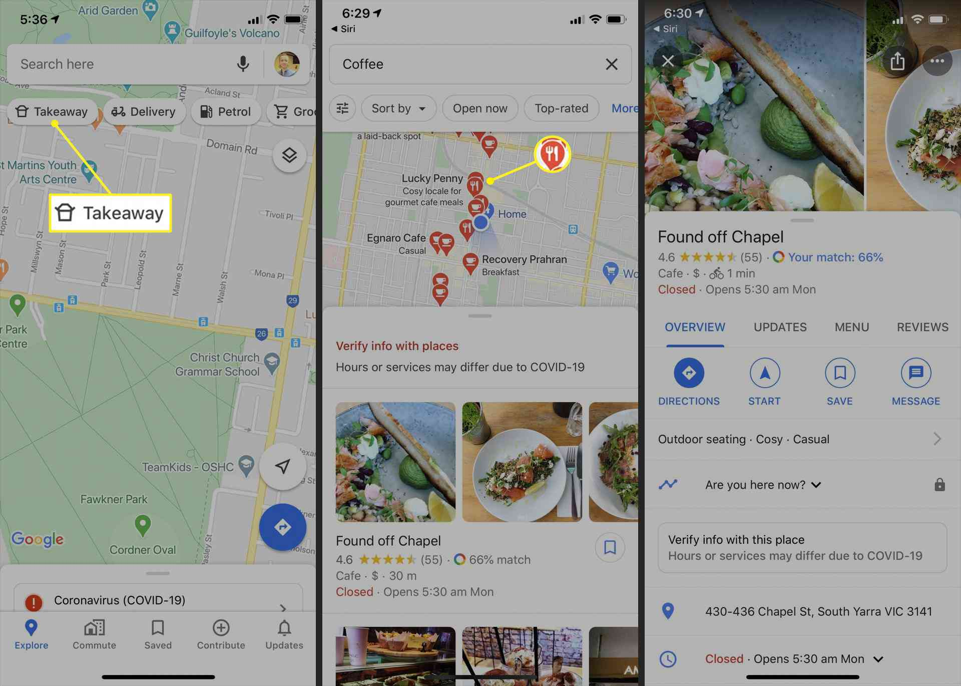 Google Maps restaurant and cafe directory
