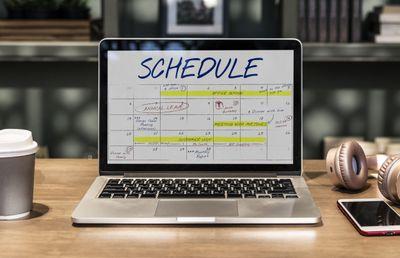 Schedule on laptop