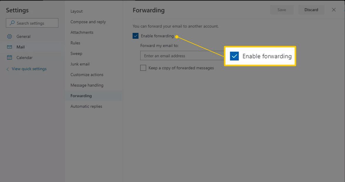 Enable forwarding checkbox in Outlook Settings
