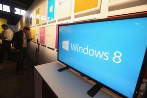 A TV showing the Windows 8 logo.