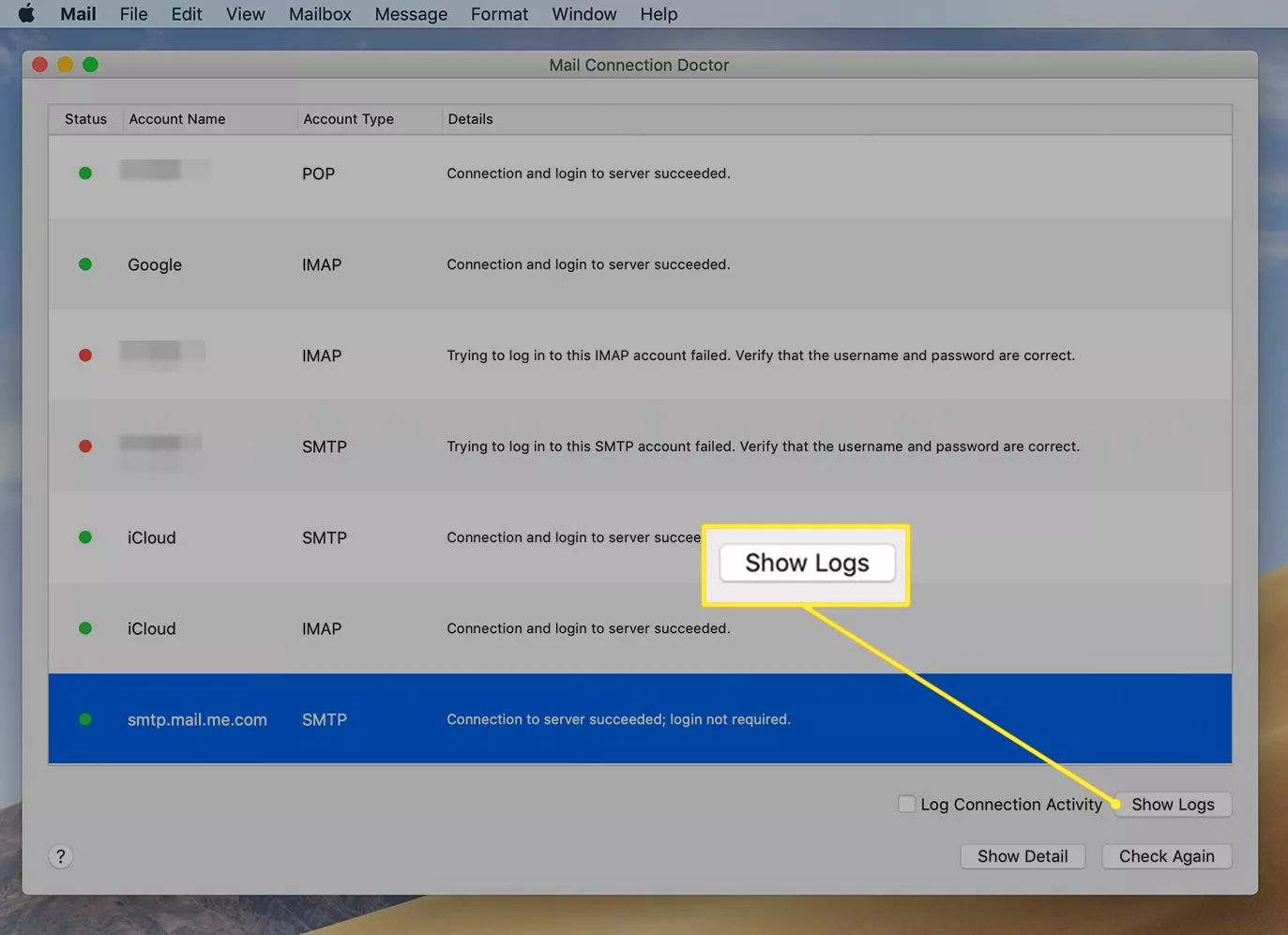 The Apple Mail app's Mail Connection Doctor window with the 'Show Logs' button highlighted
