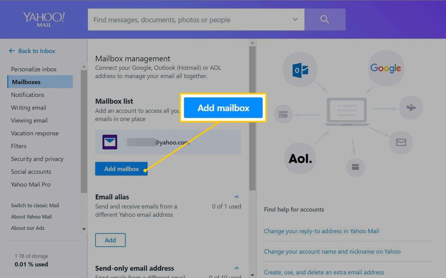 Add mailbox button in Yahoo Mail