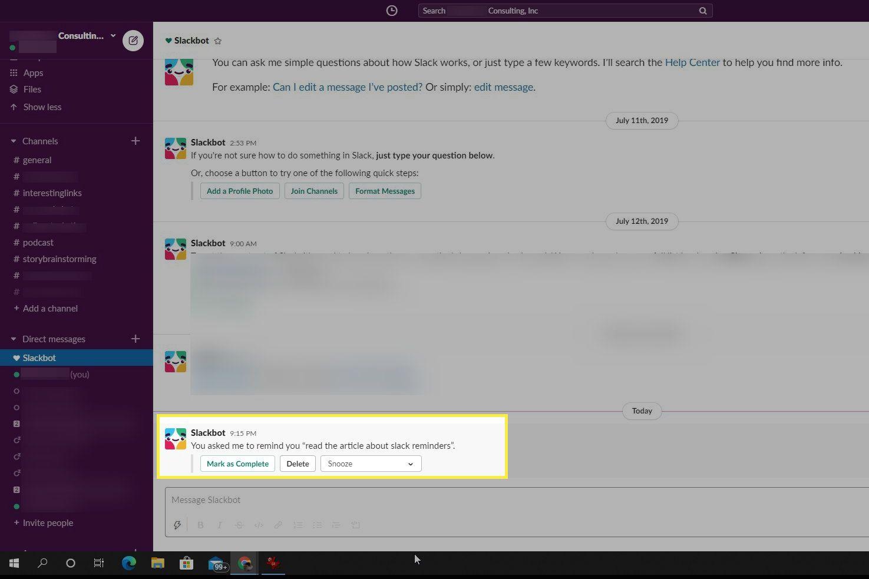 Reminder notification in Slack
