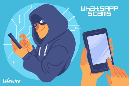 A conceptual illustration of a WhatsApp scammer.