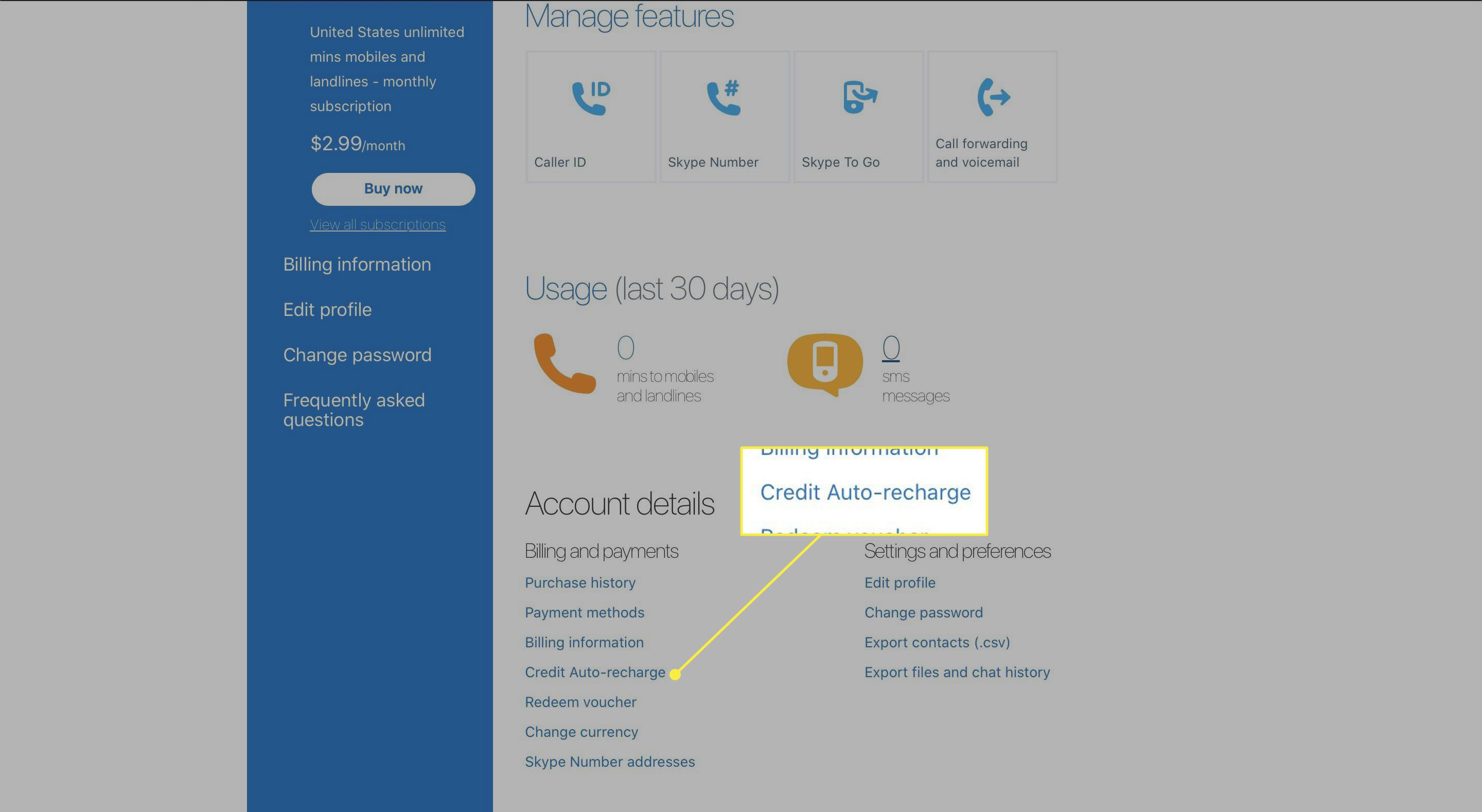 A screenshot of Skype's Account Details page with the Credit Auto-recharge link highlighted