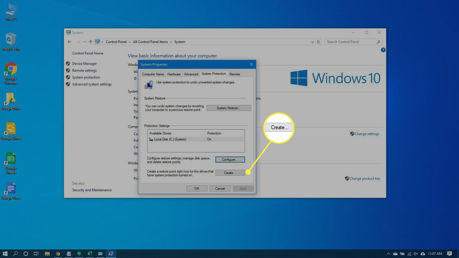 Configuring a restore point in Windows 10.