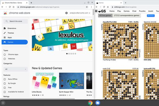 Screenshot of Chrome Web Store games window (left) and Online-go.com site (right)