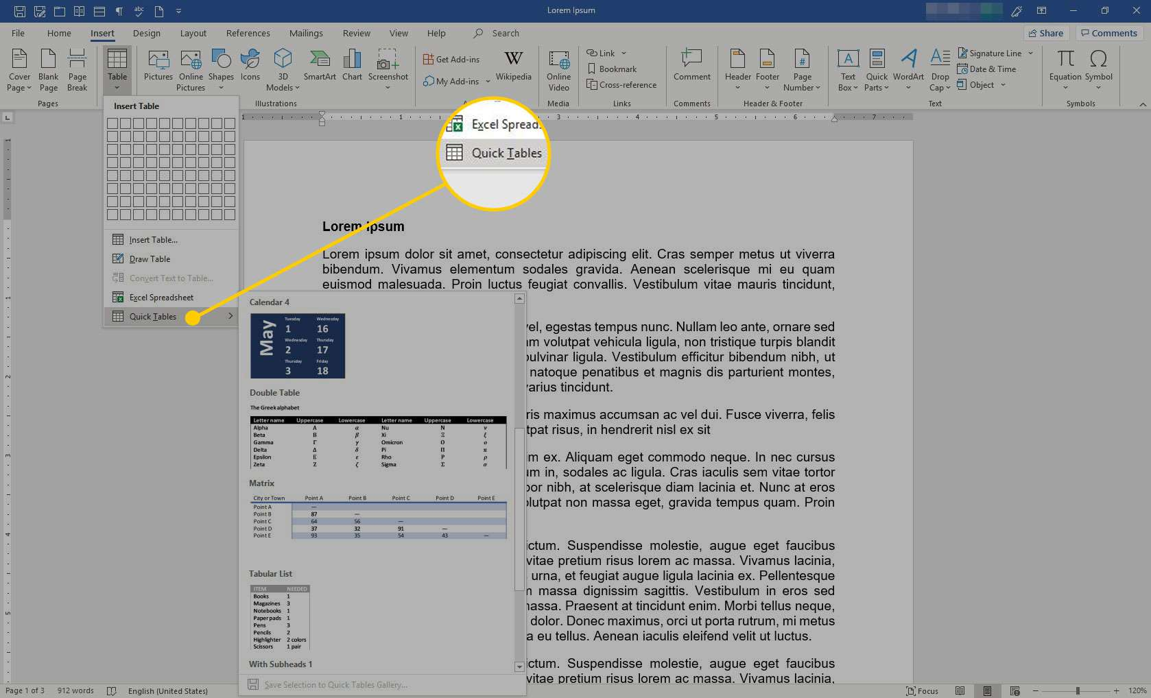 Microsoft Word with the Quick Tables option highlighted