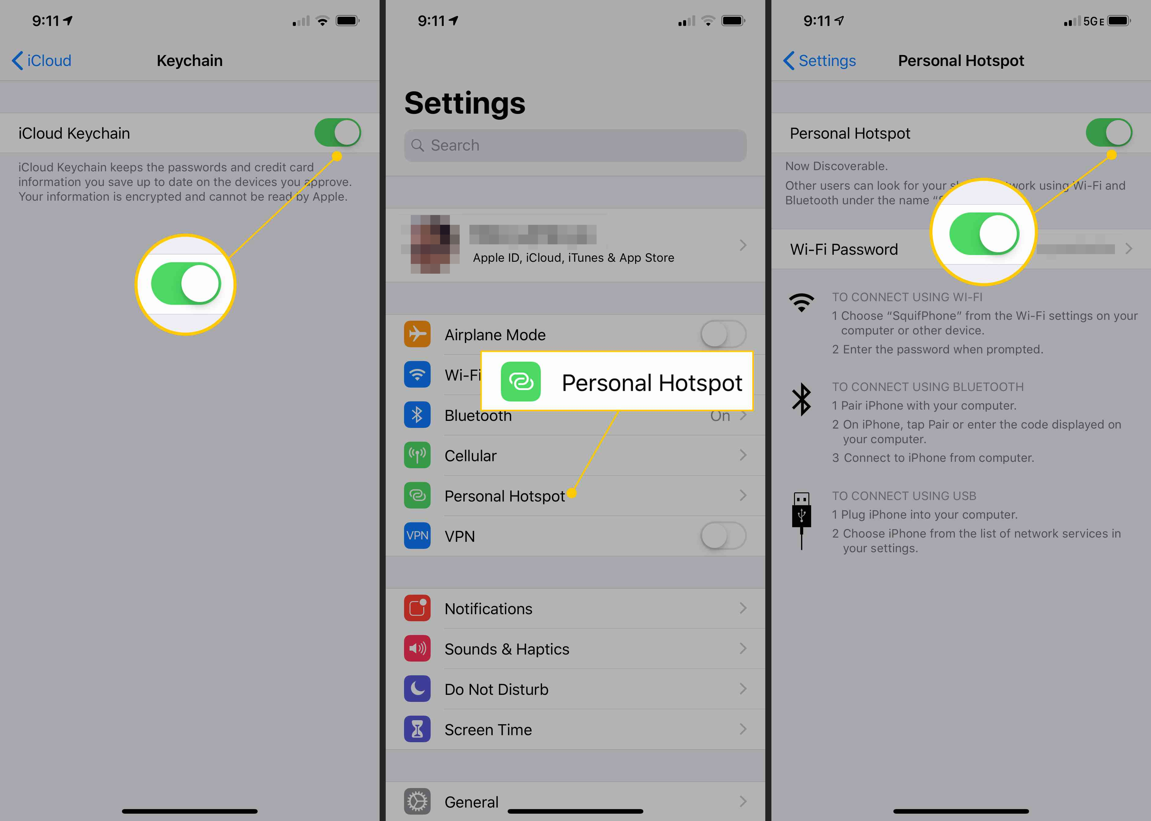 iCloud Keychain, Personal Hotspot, toggle ON in iOS Settings