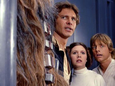 Harrison Ford, Carrie Fisher and Mark Hamill in Star Wars (1977)