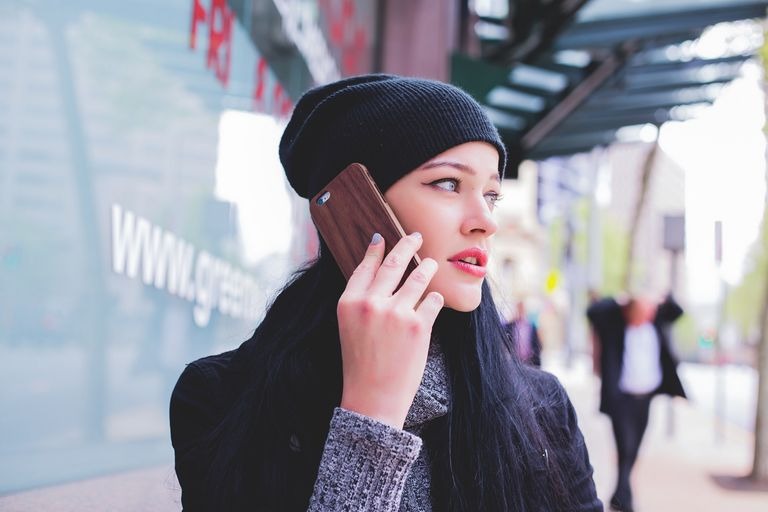 Woman on a phone call on her smartphone.