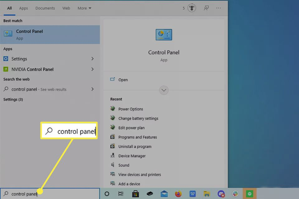 Control Panel highlighted from Windows 10 search box.