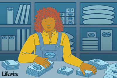 An illustration of a person surrounded by blue objects