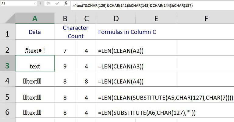 Excel Clean Function To Remove Non Printable Characters