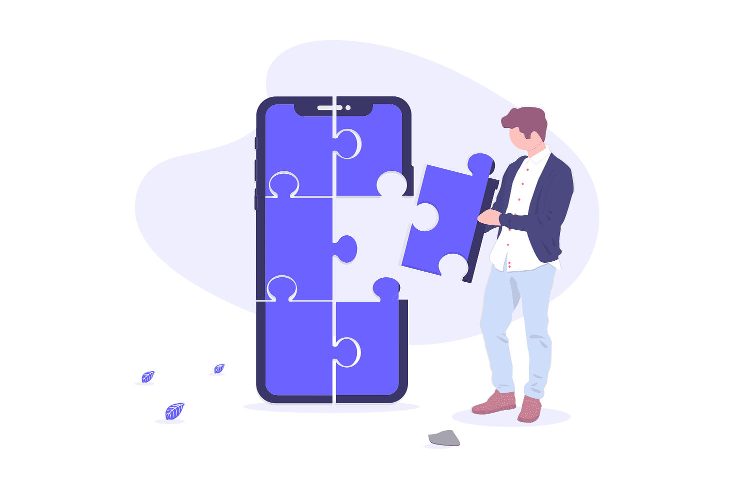 Illustration of man building a phone with puzzle pieces
