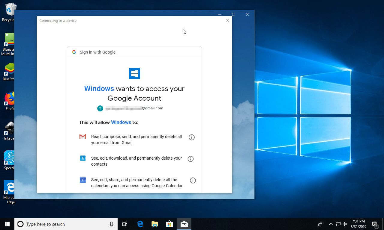 Gmail account permissions in Windows Mail