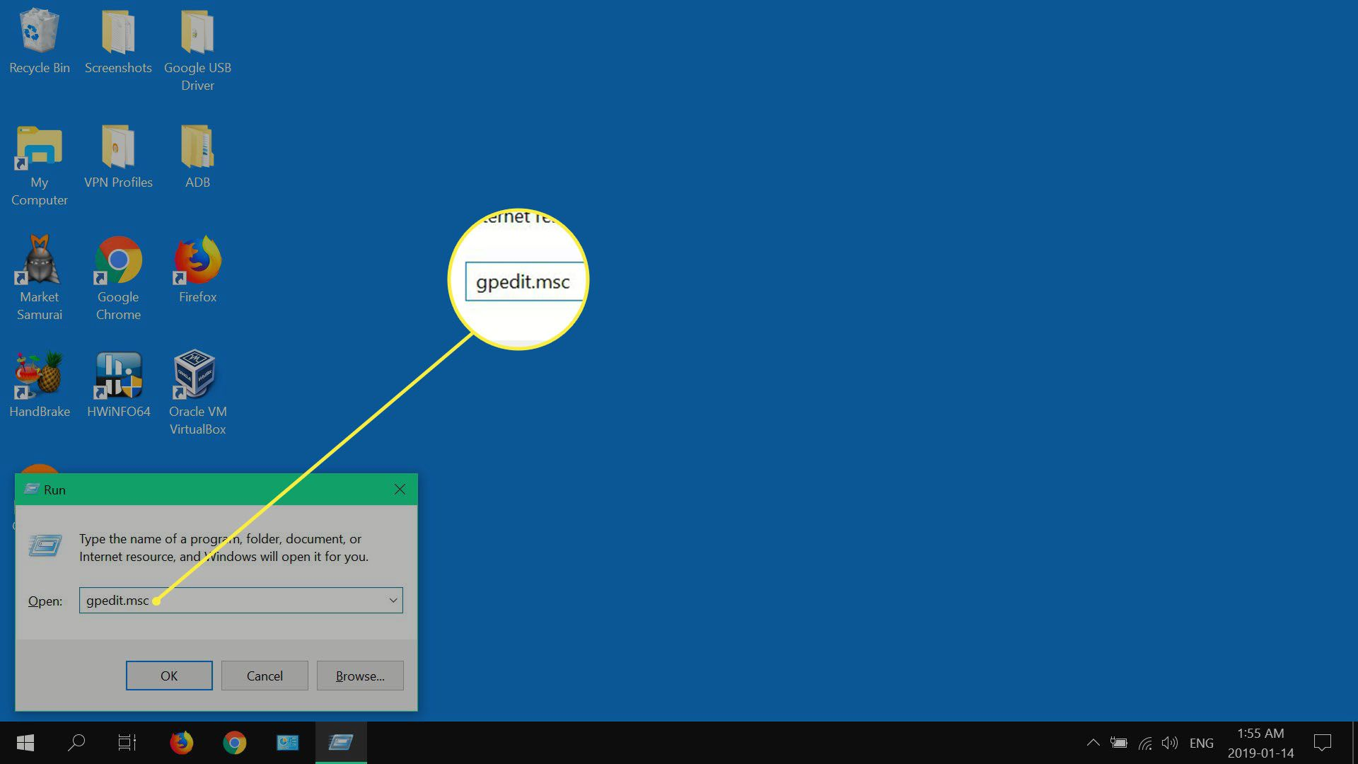 Windows 10 Run window.