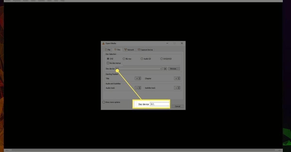 VLC DVD Drive selection