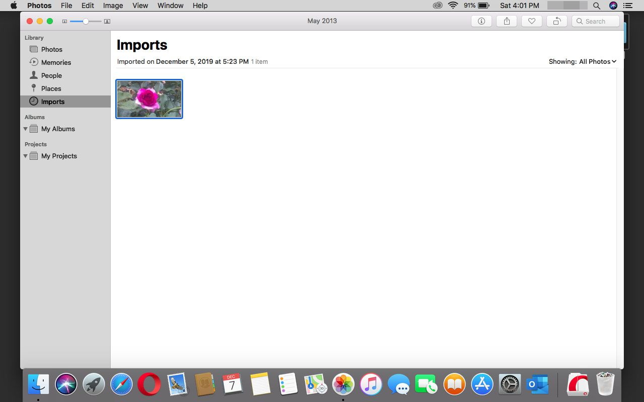 Viewing imported photos in Photos in macOS