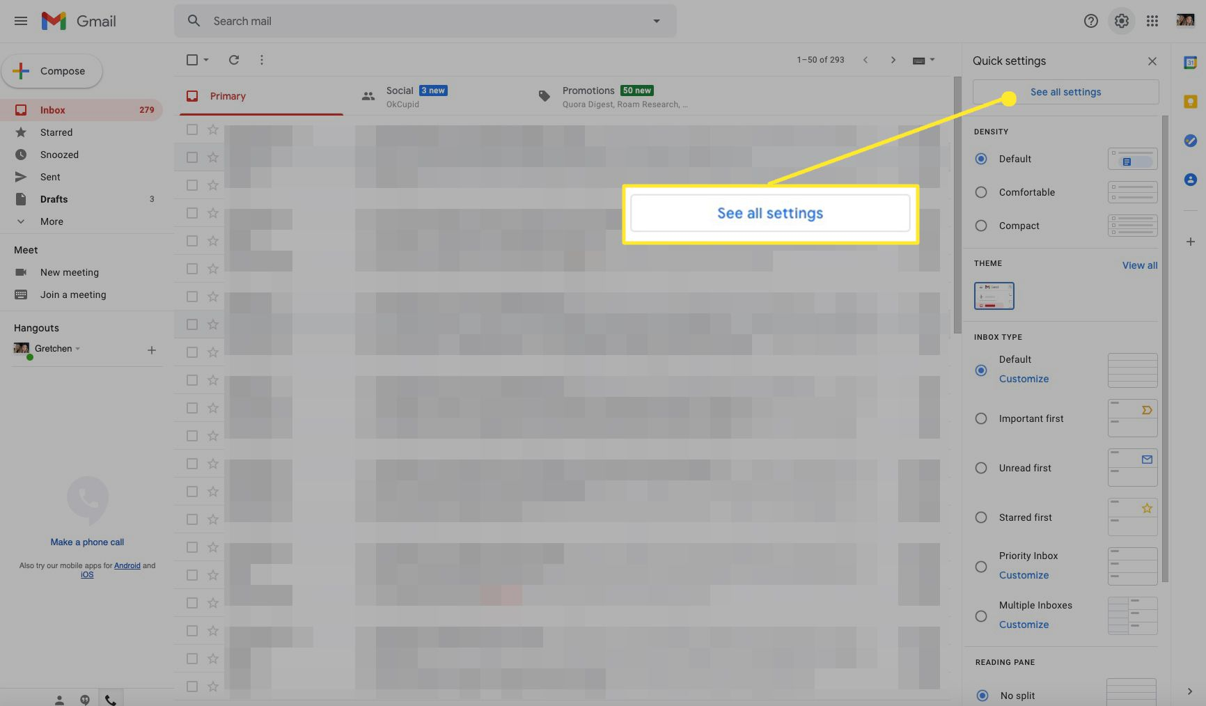 Gmail inbox screen with See all settings highlighted