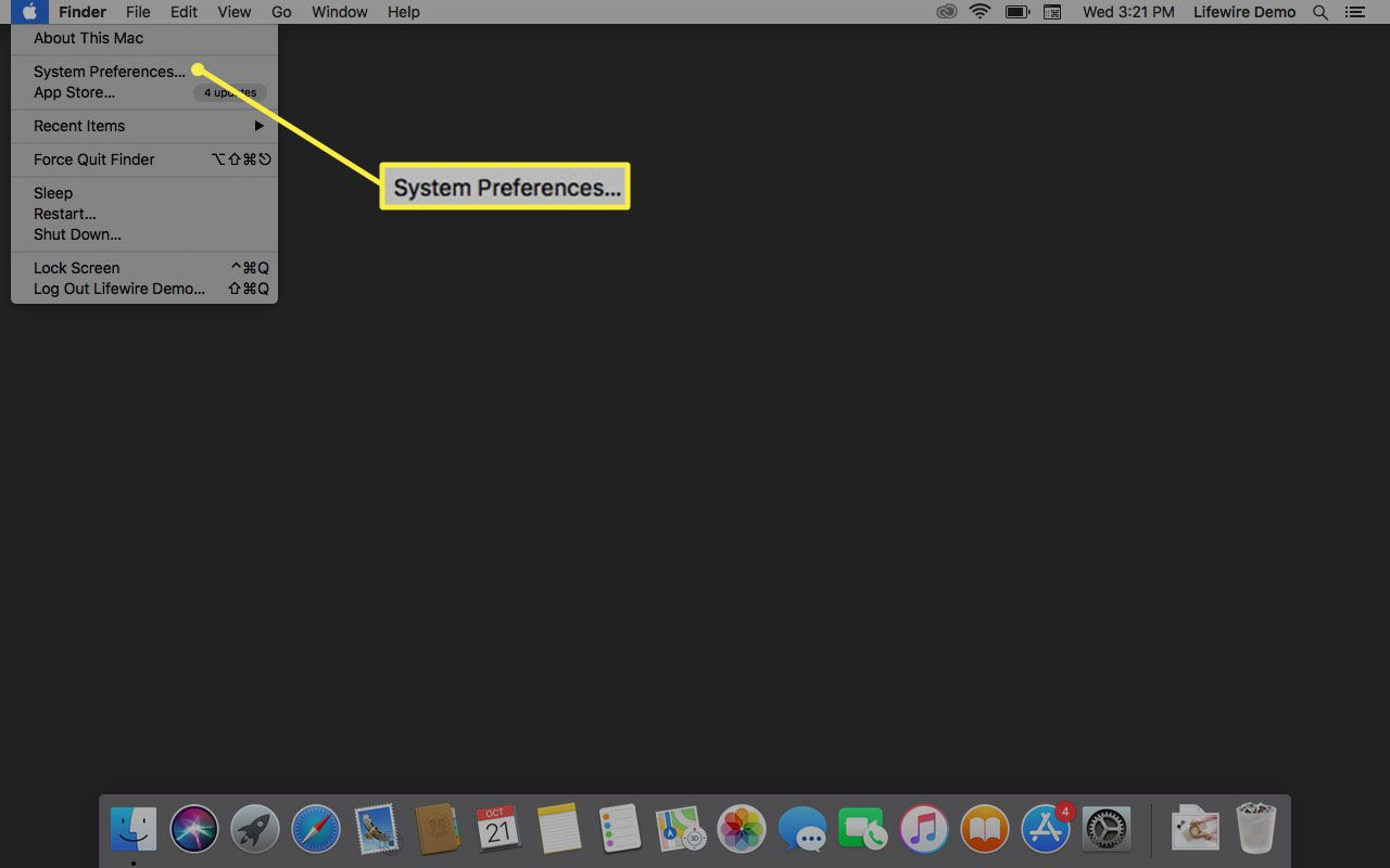 System Preferences in macOS.
