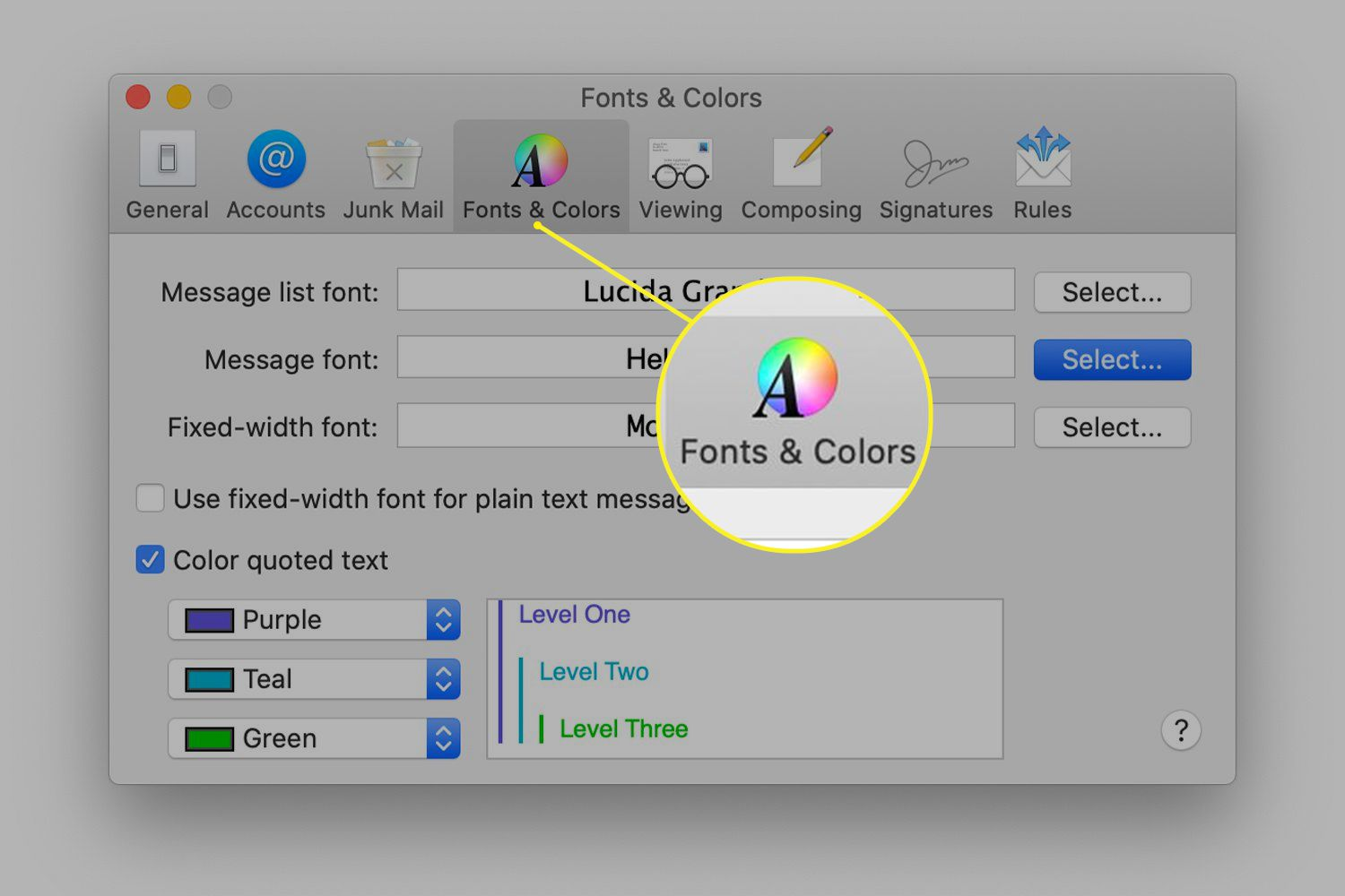 Fonts & Colors preferences tab in Mac Mail preferences