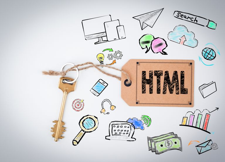 Illustration of HTML tied to a key