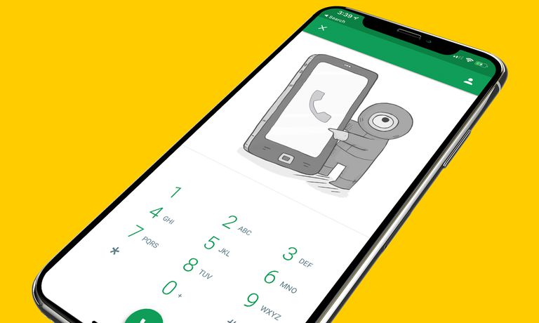 Hangouts on iPhone X screen on a yellow background