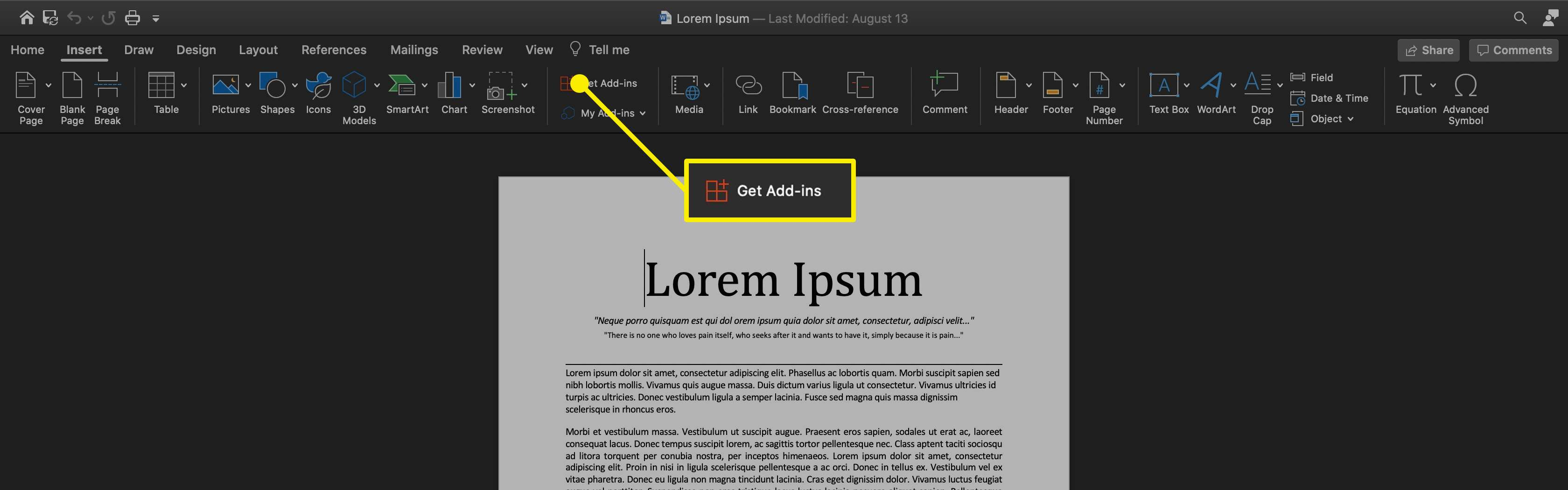 The Get Add Ins option in Word for macOS